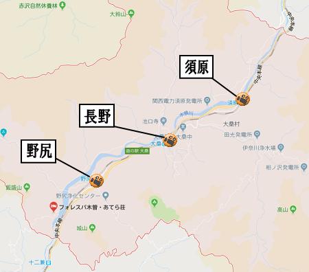大桑村地図道路